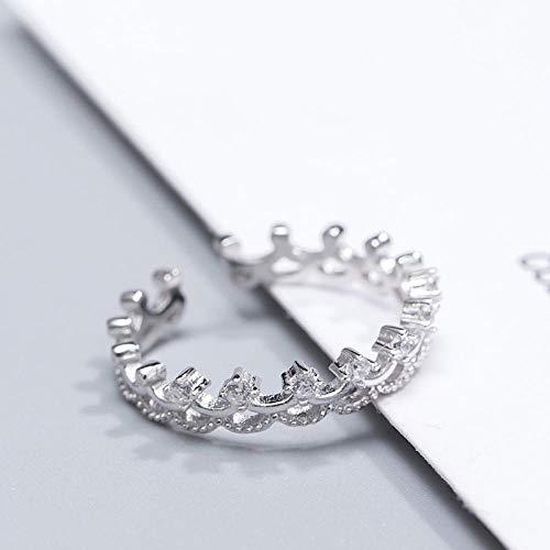 PRAK Damen 925 Sterling Silber Ringe Verstellbare,Sekt Persönlichkeit Krone Form Ring Für Frauen Geburtstag Geschenk Abendkleid Mit Halloween Verschleiß