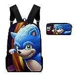 XINFAN Bolsa para la Escuela 13 Pulgadas 3D Nueva Mochila Hedgehog Sonic School Bag Set Mochila Estudiante Mochila Escolar Conjuntos Tres Piezas niños niñas Regalos cumpleaños