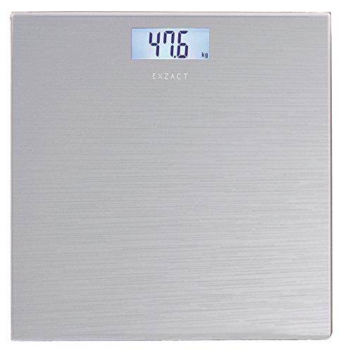 Exzact Báscula Corporal Electrónica/Báscula de Baño Digital/Escala Personal - 180kg - Exhibición del LCD de la contraluz (Plata)