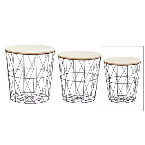 Meinposten. Beistelltisch Sofatisch Tisch mit Stauraum Couchtisch Korb Metall Holz Nachttisch schwarz (Klein)