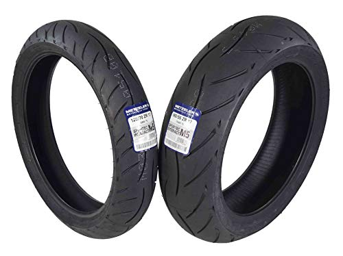 Metzeler Sportec M5 Front and Rear Motorcycle Radial Sport Bike Tires Set (120/70ZR17 Front 180/55ZR17)