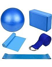 Yoga Starter Kit 5 Stks Yoga Blokken en Strap Set Yoga Bal Foam Yoga Baksteen Fitness Oefening Weerstand Loop Band Stretching Strap Pilates Riem yoga Apparatuur en Accessoires voor Thuis, Gym,Yoga Training