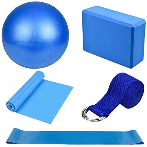 Dokpav Kit de Accesorios para Pilates Set de 5 Bandas Elásticas Fitness,Goma elasticas Musculacion,Bloque de Yoga,Pequeña Pelota de Pilates,Bandas de Resistencia para Yoga,Pilates,Fitness (Azul) 🔥