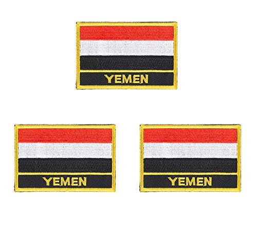 3 Stück Jemen bestickte Flaggen-Emblem-Applikation zum Aufbügeln oder Aufnähen.