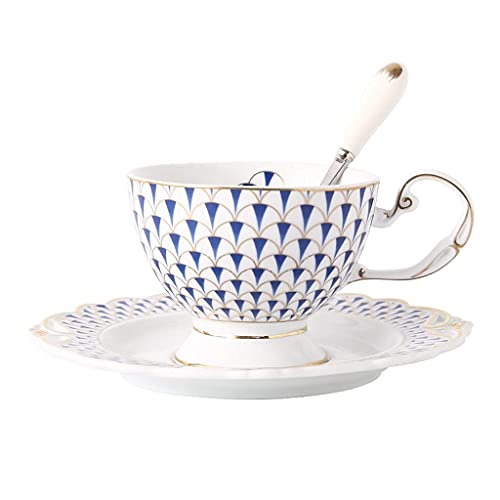 DZX Combo de Taza de café y platillos apilables de Estilo nórdico de 7.0 oz / 200 ml, Taza de té de la Tarde de té de Flores Creativas con Cuchara para Oficina y hogar, Azul