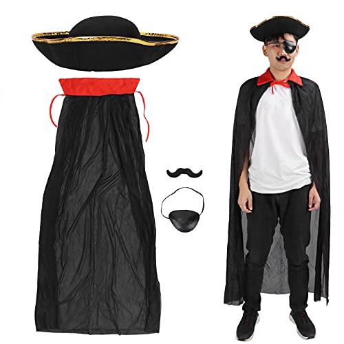 4Pcs Costume de Pirates, Comprend Cape de Pirate Chapeau de Pirate Patch Oeil de Pirate et Barbe de Pirate Kit D'Accessoires de Pirate Cosplay Pretend Dress Up Set Halloween Noël Anniversaire Costume