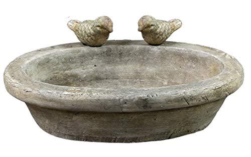 Bada Bing Hochwertige Vogeltränke Aus Keramik Ca. 30 x 20 x7,5 cm Mit 2 Vögel Glasiert Wasserschale Tränke Für Vögel Garten 00