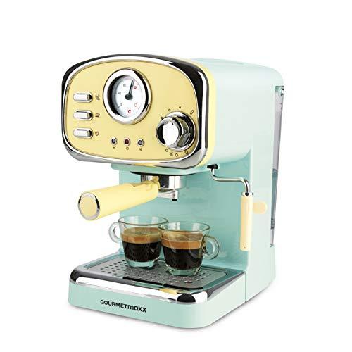 GOURMETmaxx Máquina de café expreso con colador eléctrico, pantalla analógica de temperatura, con calentador de tazas y vaporizador de leche (diseño retro, 1100 vatios)