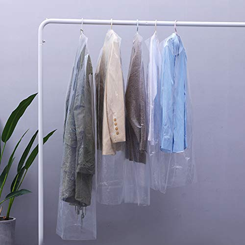 N\C 50 Pack Garment Bags Transparent Clothing Dust Cover Protector for Suit Coats Dress Closet Storage Protector Dustproof Hanging Clothes for Dry Cleaner, Home Storage,Travel Storage Closet