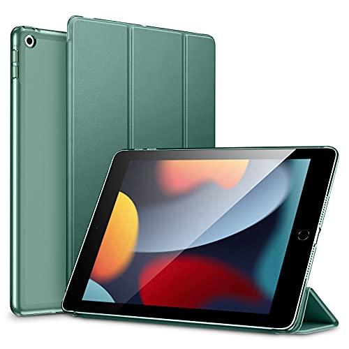 ESR leichte Trifold Hülle kompatibel mit iPad 9. Generation 2021, 8. Generation 2020, 7. Generation 2019 mit Ständer und automatischem Ruhe/Wachmodus, Dunkelgrün