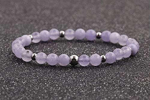 Pulsera Feng Shui Bead Pulsera de piedra Mujer, 7 chakra Pulsera de piedra natural violeta Pulsera de cristal Lucky Yoga Elástico Bangle Silver Ball Decoración de la joyería de moda para damas Pulsera