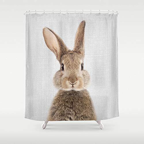 Minyose Farbiger Kaninchen-Duschvorhang Dekorativer Duschvorhang Wasserdichter Badvorhang Aus Polyestergewebe 12 Haken 1.8X1.8M