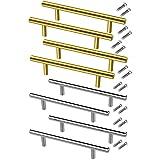 Andylies Tiradores de Cajones de Acero Inoxidable Hardware de Tiradores de Plata Dorada de 8 Piezas, Tiradores de Puerta de Armario para Muebles de BaaO de Cocina
