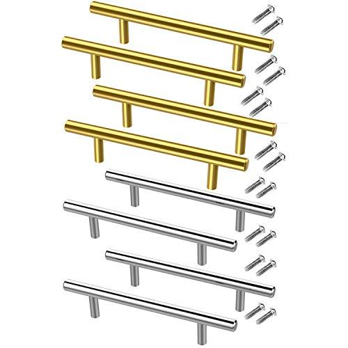 Andifany Tiradores de Cajones de Acero Inoxidable Hardware de Tiradores de Plata Dorada de 8 Piezas, Tiradores de Puerta de Armario para Muebles de Ba?O de Cocina