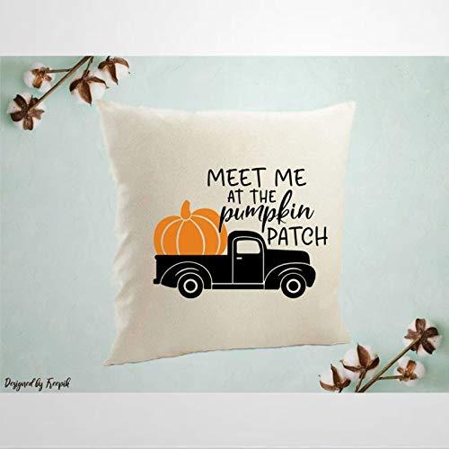 EricauBird Meet Me at The Pumpkin Patch Halloween Niedlicher Premium Thraow Kissenbezug, dekoratives Kissen, moderner Kissenbezug für St. Patrick's Day, Innen-Schlafzimmer, Sofa, Wohnzimmer, Auto.