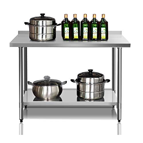 DREAMADE Arbeitstisch Edelstahl für Lebensmittelzubereitung, Küchentisch mit Aufkantung, Edelstahltisch, 2 Arbeitsplatte, ideal für Küche, Restaurant, Silber (Modell 2)