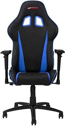 GT OMEGA PRO Racing Gaming Chair with Lumbar Support - Ergonomic PVC Leather Office Chair with 4D Adjustable Armrest & Recliner - Esport Seat for Ultimate Gaming Experience - Black Next Blue