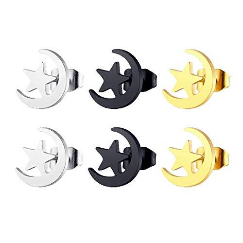 Daesar 3Pares Luna con Estrellas Pendientes de Acero Inoxidable Mujer Hombre Plata Oro Negro