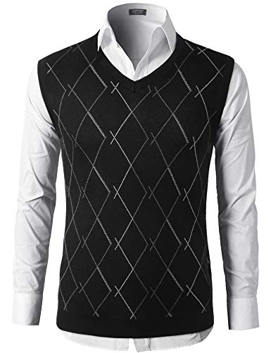 COOFANDY Mens Casual Cotton Cable Knitted Pullover Sweaters Knit V-Neck Vests