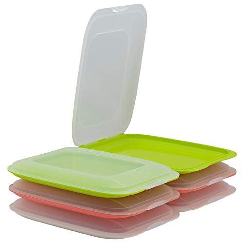 ENGELLAND - 6er Farbmix-Set hochwertige stapelbare Aufschnitt-Boxen, Frischhaltedose für Aufschnitt. Wurst Behälter. Perfekte Ordnung im Kühlschrank - 2X lachs 2X grün 2X beige, Maße 25 x 17 x 3.3 cm