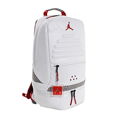 Nike Air Jordan Retro 3 III White Backpack Bookbag (One Size, White Fire Red)