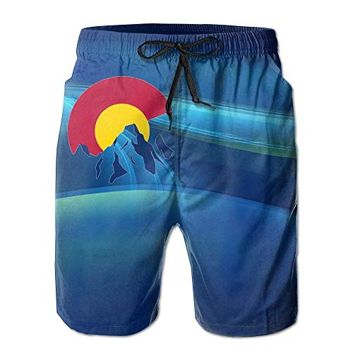 Jiger Colorado Mountain Mens Swim Trunks Quick Dry Summer Surf Beach Board Shorts Cargo PantsXL