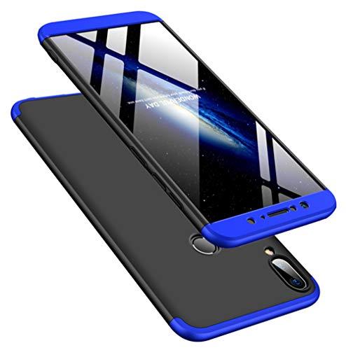 DECHYI compatibles para Funda ASUS Zenfone MAX Pro M2,Cubierta + Cristal Templado Matte Ultra Slim PC Hard-Protección del Cuerpo Scratchproof Cubierta-Azul+Negro