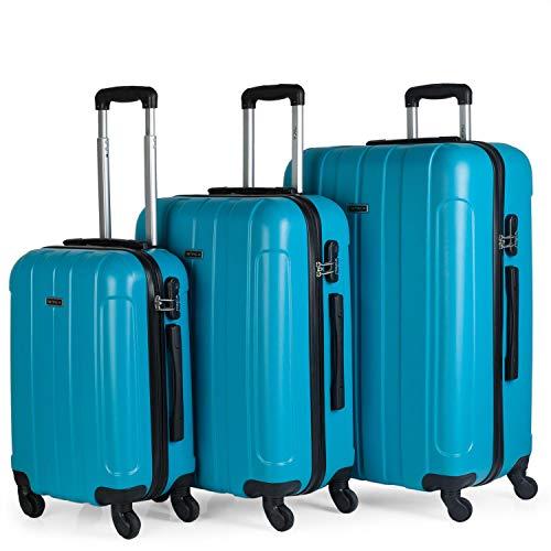 ITACA - Juego Maletas de Viaje rígidas 4 Ruedas Trolley 55/64/73 cm abs. s cómodas prácticas y Ligeras. pequeña Cabina Mediana y Grande 771100, Color Turquesa
