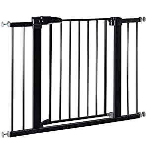 BABELIO 26-40 Inch Easy Install Extra Wide Pressure Mounted Metal Baby Gate, No Drilling, No Tools Required, with Wall Protectors and Extenders