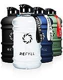 REFYLL Borraccia sportiva 2 l – 'BeastFYLL' I robusta borraccia da 2 litri per palestra, fitness e allenamento, Premium Water Jug da 2200 ml, borraccia da 2 (Crystal Clear)
