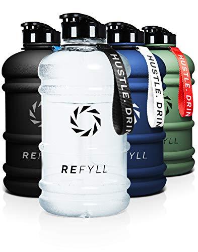 REFYLL Botella deportiva de 2 litros – 'beastFYLL' I robusta botella de agua de 2 litros para gimnasio, fitness y entrenamiento I Premium Water Jug 2200 ml I Botella 2L (Crystal Clear)