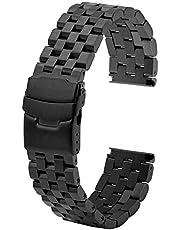 Correa de reloj de acero inoxidable de 20 mm, 22 mm, 24 mm, fijación de tornillos, metal, correa de repuesto para reloj de ingeniero, correa para hombre, mujer, color negro, plateado