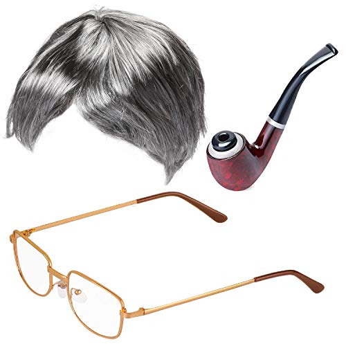 Beefunny Old Man Fancy Dress Accesorio Set Abuelo Accesorios para Disfraces Caña Inflable Gafas Pipe Old Man Wigs Party (C)