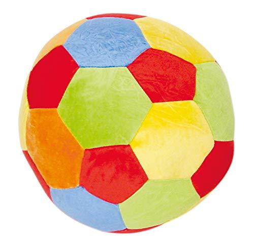 Bieco Softball Baby Rassel   Ø 25 cm   Stoffball Baby mit Rassel   Plüschball   Greifball für Babys   Rasselball zum Greifen   Baby Ball   Knautschball   Regenbogenball Rassel Baby   Spielball Baby