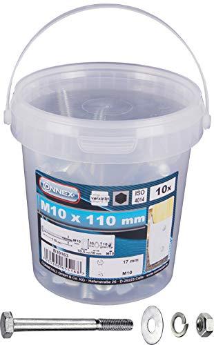Connex Sechskantschrauben M10 x 110 mm - 10 Stück - Außensechskant-Antrieb - Verzinkt - Für sämtliche Konstruktionen - Inkl. Unterlegscheiben, Federringe & Muttern / Schrauben-Eimer / B30163