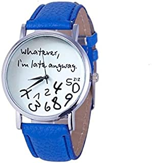 Fashion Leather Strap Watches 2 PCS Alphabet Number Pattern Leather Strap Watch(Black) (Color : Blue)