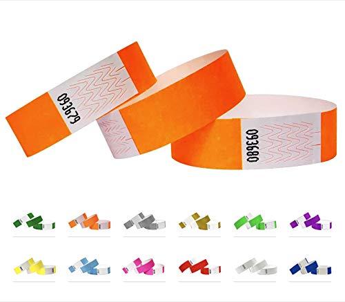 Tyvek Pulseras - 500 unidades - Naranja neón - Tyvek pulseras para eventos