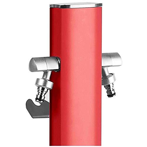 S&M Totem Gartenwassersäule mit Halterung für 2 Wasserhähne AQUAPOINT, Rot