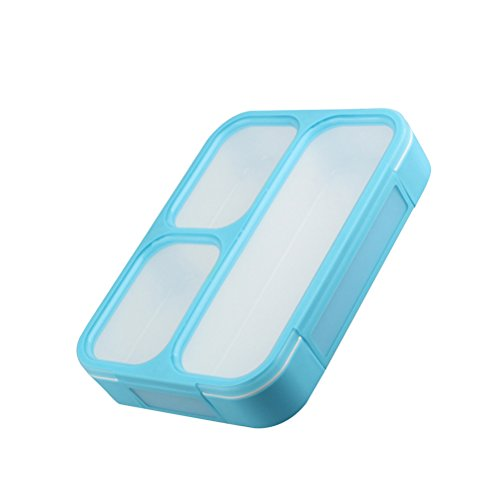 Thin Lunch Box with 3 Compartments Reusable Food Storage Containers with Lid Portion Lunch Container Best Partner For Lunch