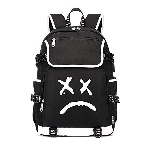 Lil PEEP Rucksäcke Game Laptop Daypack, Notebook Schulrucksack mit USB-Ladeanschluss und Anti-Diebstahl Versteckte Tasche
