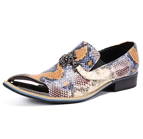 YOWAX Zapatos de los Hombres de Color imitación de Piel de Serpiente Zapatos de Cuero del patrón del Dedo...