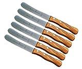 Schwertkrone Buckelsmesser Brötchenmesser Buttermesser mit Wellenschliff Holzgriff Olivenholz Holzgriff