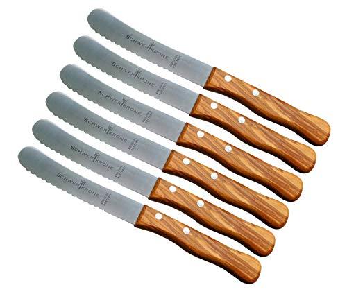 *Fuchs Buckelsmesser Brötchenmesser Buttermesser mit Wellenschliff Holzgriff Olivenholz Holzgriff (6 Stück)*