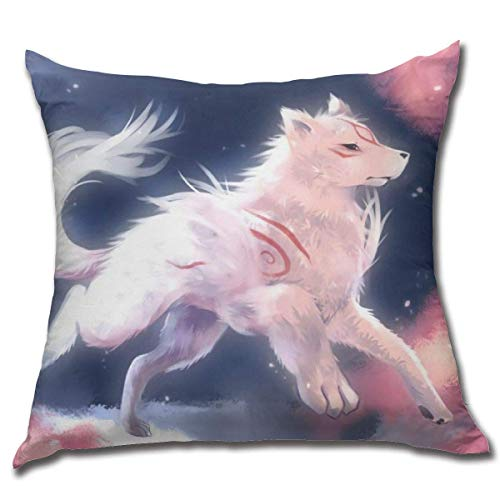 age Okami-Amaterasu Cotton Fleece Sofa Anime Square Hug Pillowcase Fundas para Almohada