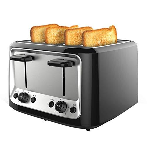 LundB-MR Toaster 4 Scheiben Edelstahl, Sandwichmaker, Frühstücksmaschine Mit 6 Bräunungsstufen, Herausnehmbares Krümmelfach, 37.8 Mm Verbreiterter Backschlitz