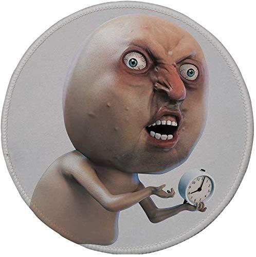 Rutschfreies Gummi-rundes Mauspad Humor-Dekor warum Sie mich nicht wecken Internet-Meme mit klagendem verschlafenem Gesicht und Uhrenbild Hellbraun 7.9