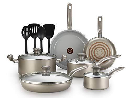 T-fal G919SE64 Initiatives Ceramic Nonstick Dishwasher Safe Toxic Free 14-Piece Cookware Set, Gold - 2100108604