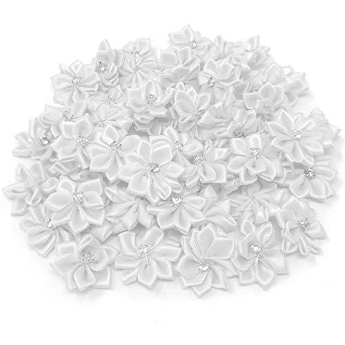 Weiß, 25 mm, Satin-Schleife, Strasssteine, Blumen, mit Strasssteinen, Blumen, Textil, weiß, 25-30mm