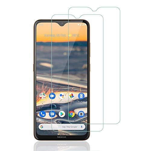 Aerku Panzerglas Schutzfolie für Nokia 5.3 / Nokia 2.4, 9H Härte HD Schutzfolie Anti-Kratzer Ultra Glatte Film Displayschutzfolie Blasenfreie Panzerglasfolie für Nokia 5.3 [2Stück]-Transparent
