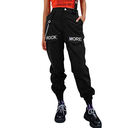 cinnamou Damen Cargo Hosen mit Kette Gothic Hosen Hohe Taille Cargo Hose Mehrfachtasche Punk Hosen Frauen Armee Militär Hip Hop Jogger Street Hose